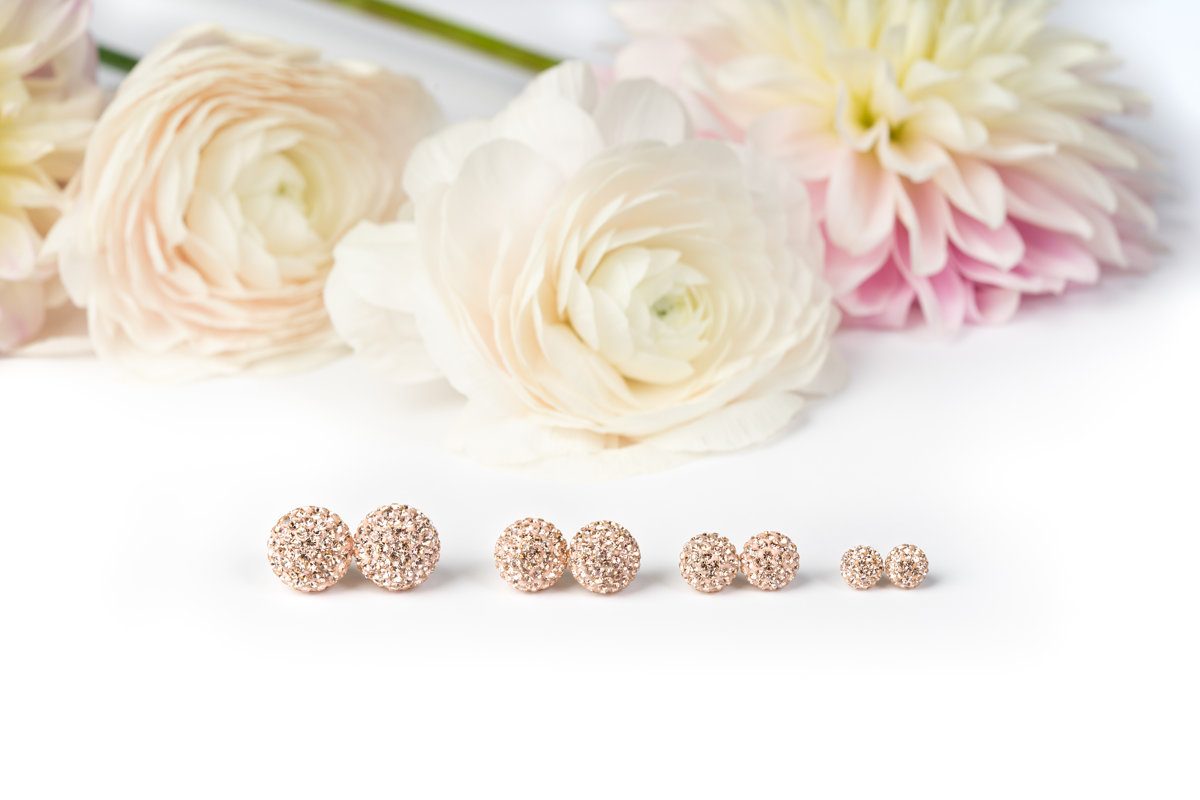 12, 10, 8, and 6mm Sparkle Balls side-by-side